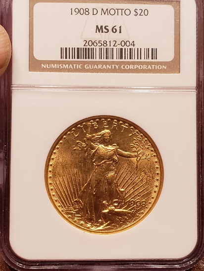 1908 D Motto Saint Gaudens 20.00 Gold Coin