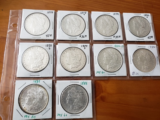 Lot of Ten Morgan Dollars