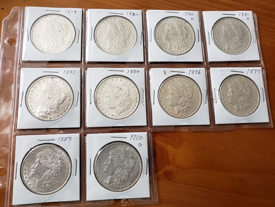 Lot of Ten Morgan Dollars Lot