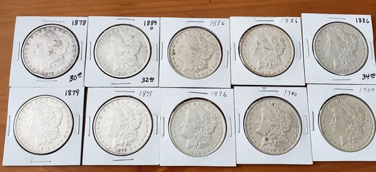 Morgan Dollar Lot of Ten Coins