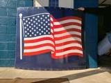 Large Porcelain American Flag Silo Sign