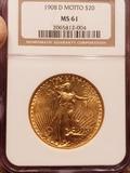 1908 D Motto Saint Gaudens 20.00 Gold Coin