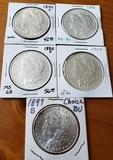 Lot of Five Morgan Dollars