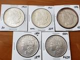 Morgan Dollar Lot of Five Coins