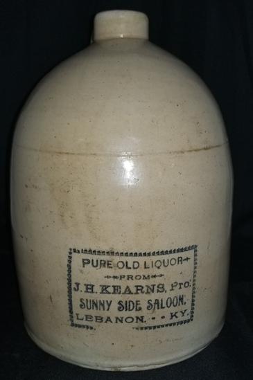 Rare J. H. Kearns Pro Sunny Side Saloon Liquor Jug