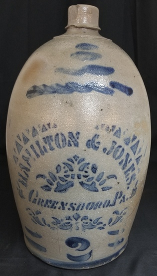 Hamilton & Jones 2 gallon cobalt decorated jug