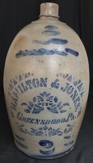 Hamilton & Jones 2 gallon cobalt decorated jug