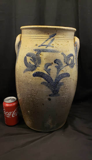 4 gallon cobalt decorated stoneware jar