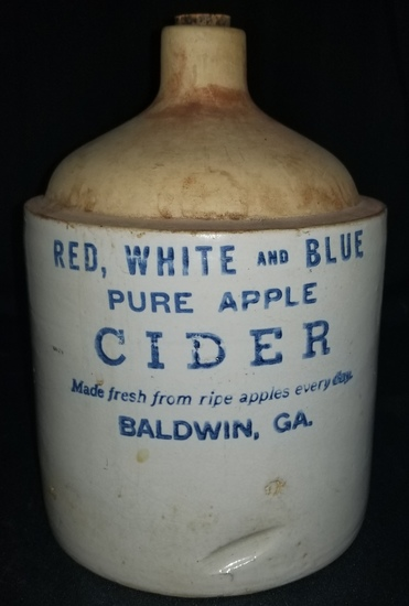 Red, white and blue apple cider stencil jug GA.