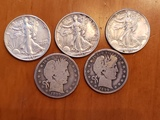 Lot of 5 Half Dollars