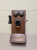 Antique Oak Crank Phone