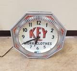 1940-50's Key Work Clothing Neon Spinner Clock