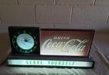 1950's Coca Cola Light Up Clock Sign