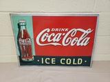 1934 Coca Cola Christmas Bottle Sign