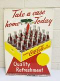 1957 Coca Cola Yellow Case Sign