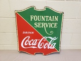 1930s Coca Cola Porcelain Fountain Service Sign