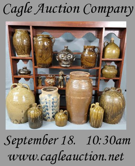 Fall Southern Pottery Auction & Southern Furniture
