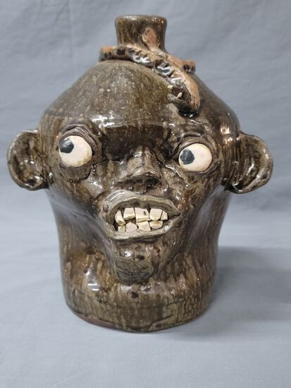 Early Chester Hewell Snake/China plate Face Jug