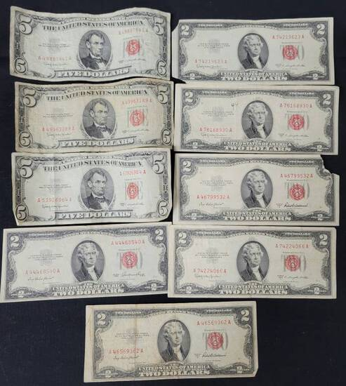 Lot of 9 US Red Note Paper Currency