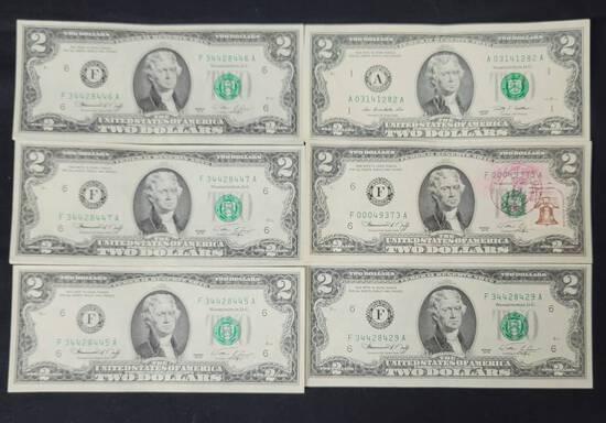 Six US Two Dollar Bill Note Lot