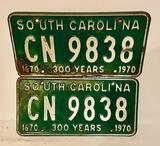 South Carolina 300 Yr matching Tags