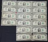 US Two Dollar Bills Lot of 16 Total