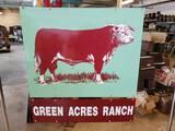 Mint Green Acres Ranch Cattle Porcelain Sign