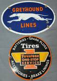 Reproduction Porcelain Greyhound & Firestone Signs