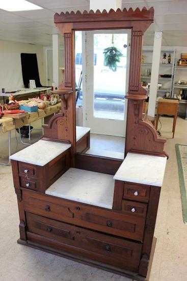 Victorian Marble Top Dresser w/Incised Line