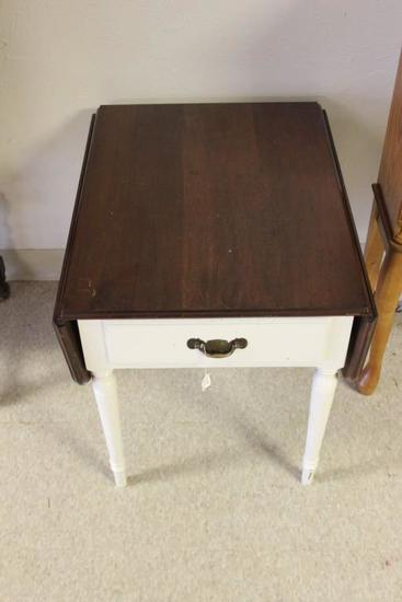 Painted Drop Leaf Side Table w/Cherry Finished