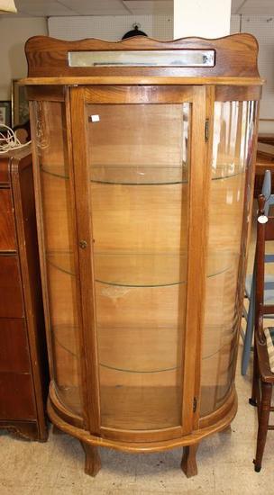 Curved Glass Curio Cabinet-No Key