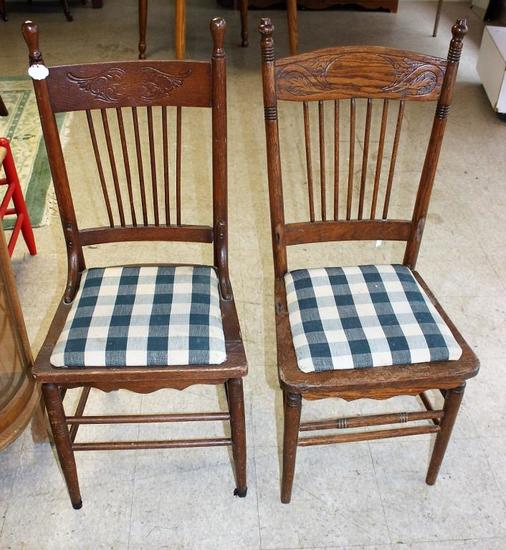 (2) Pressed Back Chairs w/Upholstered Seats
