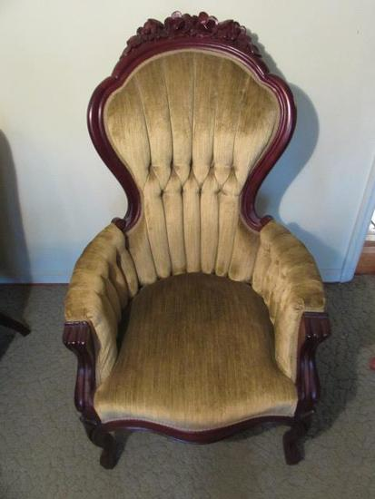 Victorian-Style Carved Chair with Tufted Velvet