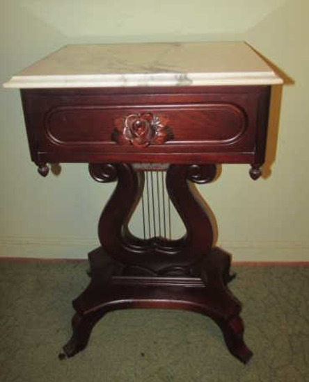 Victorian-Style Marble Top 1-Drawer Lyre-Base End