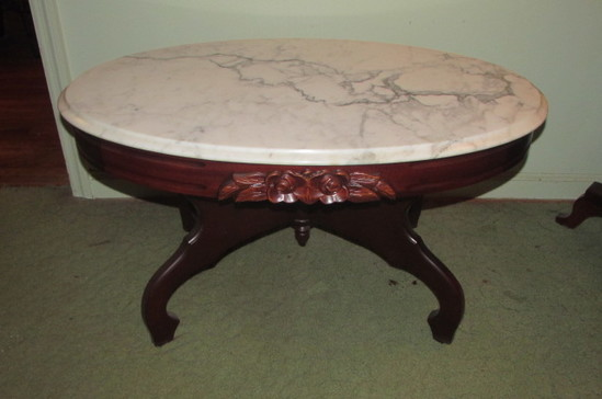 Victorian-Style Marble Top Oval Coffee Table--33