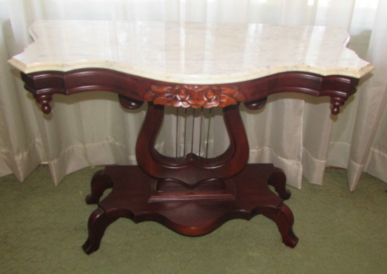 """Victorian-Style Marble Top Lyre-Base Table--40"""" x"""