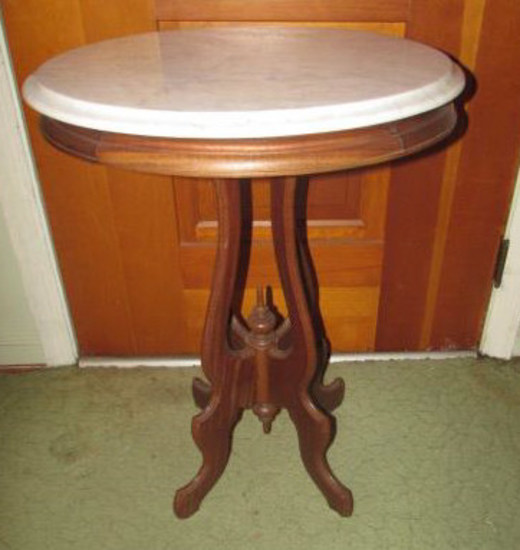 """Victorian-Style Marble Top Table--22"""" x 17 1/2"""","""