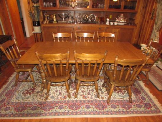 Rectangular Trestle Dining Table with (6) Side