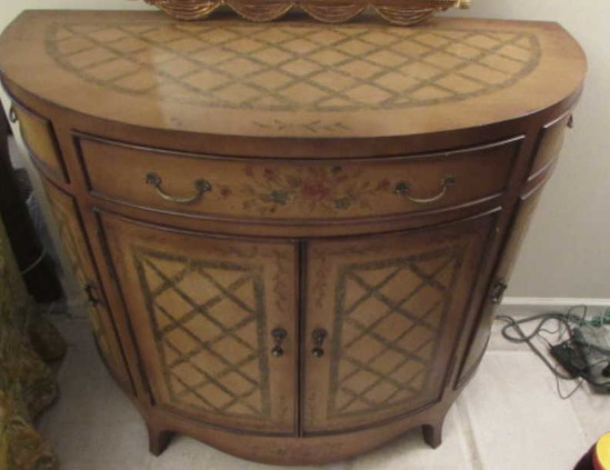 "Demilune Painted Console Cabinet--45"" x 22"", 38"