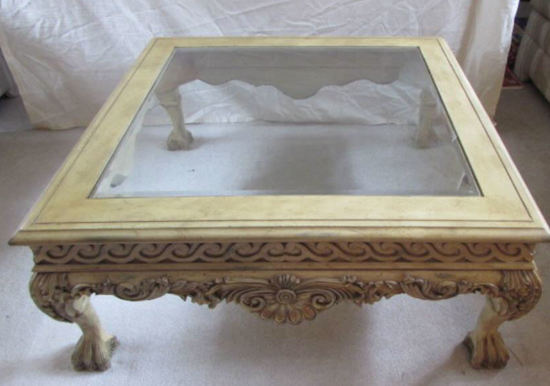 """Coffee Table with Glass Insert Top--40"""" Square,"""