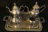 Silver Plate Coffee/Tea Service:  Footed 2-Handle