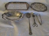 Box of Assorted Silver Plate Items:  Rectangular