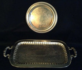 (2) Silverplate Trays:  Footed Rectangular