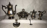 Assorted Silver Plate Items:  Coffee Pot, Cream &