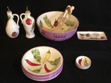 Salad Bowl, Serving Fork & Spoon, (4) Bowls, etc.