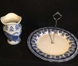 Blue & White Handled Round Plate & Blue & White