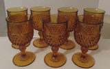 (6) Amber Goblets--Water