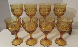 (8) Amber Color Goblets--Water