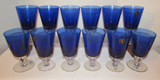 (12) Stems of Cobalt Blue Crystal Stemware by