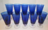 (10) Stems of Cobalt Blue Crystal Stemware by